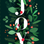 Image of the word Joy with festive foliage