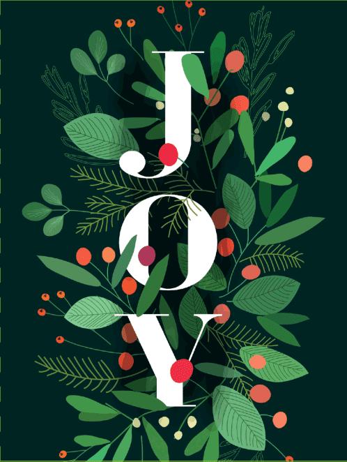 Image of the word Joy with festive foliage