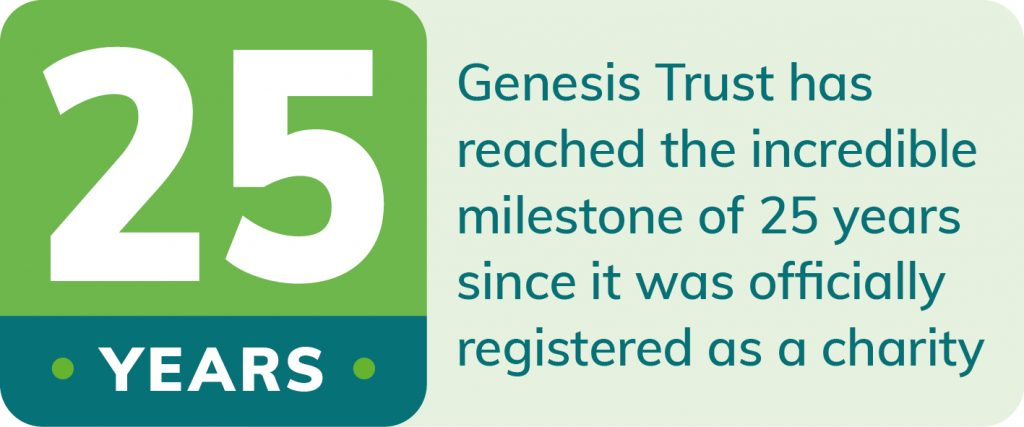 Genesis Trust has reached the incredible milestone of 25 years since it was officially registered as a charity