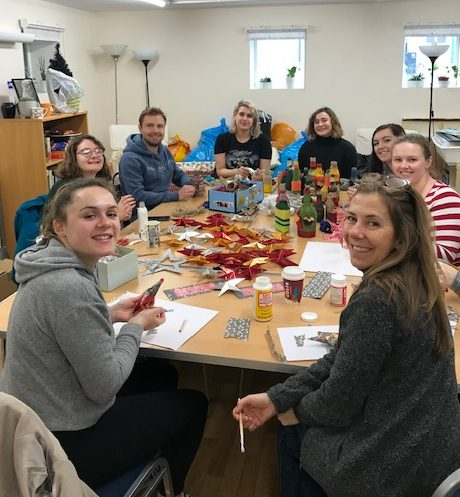 Group helping with crafts