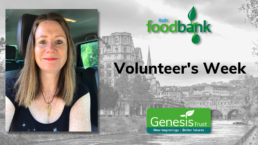 A picture of Sam Packer with the Bath Foobank and Genesis Trust logo